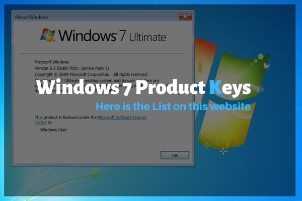 Activation Product Keys for Windows 7